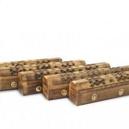 Incensario madera CAJA con 5 diseños grabados